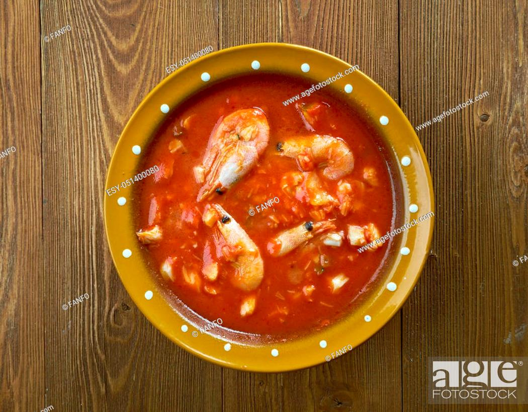 Stock Photo: Bacalao Al Ajo Arriero. spanish snack with codfish and vegetable.