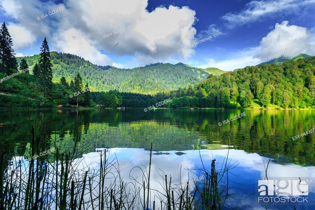 Stock Photo: Vew of Karagol (Black lake) a popular destination for tourists, locals, campers and travelers in Eastern Black Sea, Savsat, Artvin, Turkey.