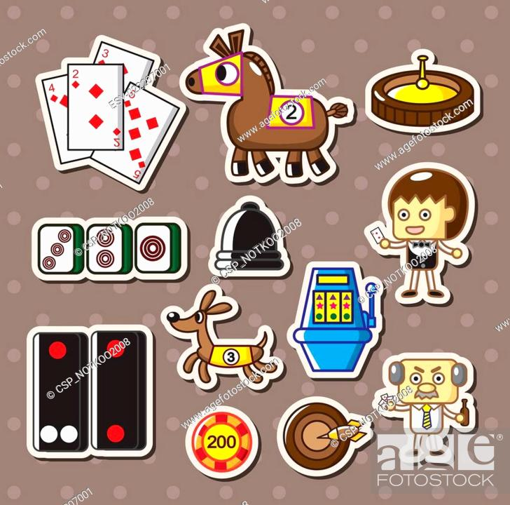 Stock Vector: casino stickers.