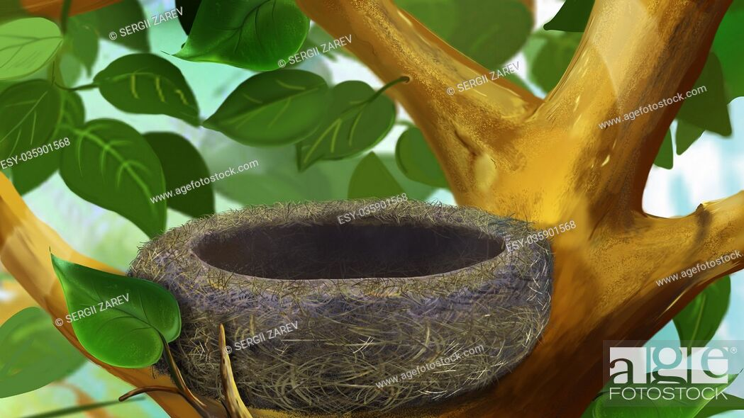 Imagen: Digital painting of the Nest in a Tree.