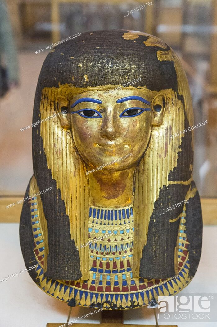 Stock Photo: Egypt, Cairo, Egyptian Museum, from the tomb of Yuya and Thuya in Luxor : Gilded mask of Thuya.