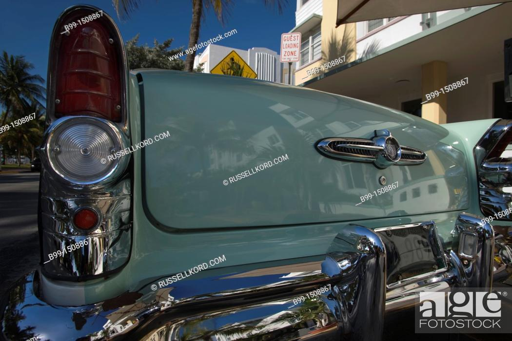 Tail Fin Of Clic 1950s Two Tone Buick Convertible Avalon Hotel