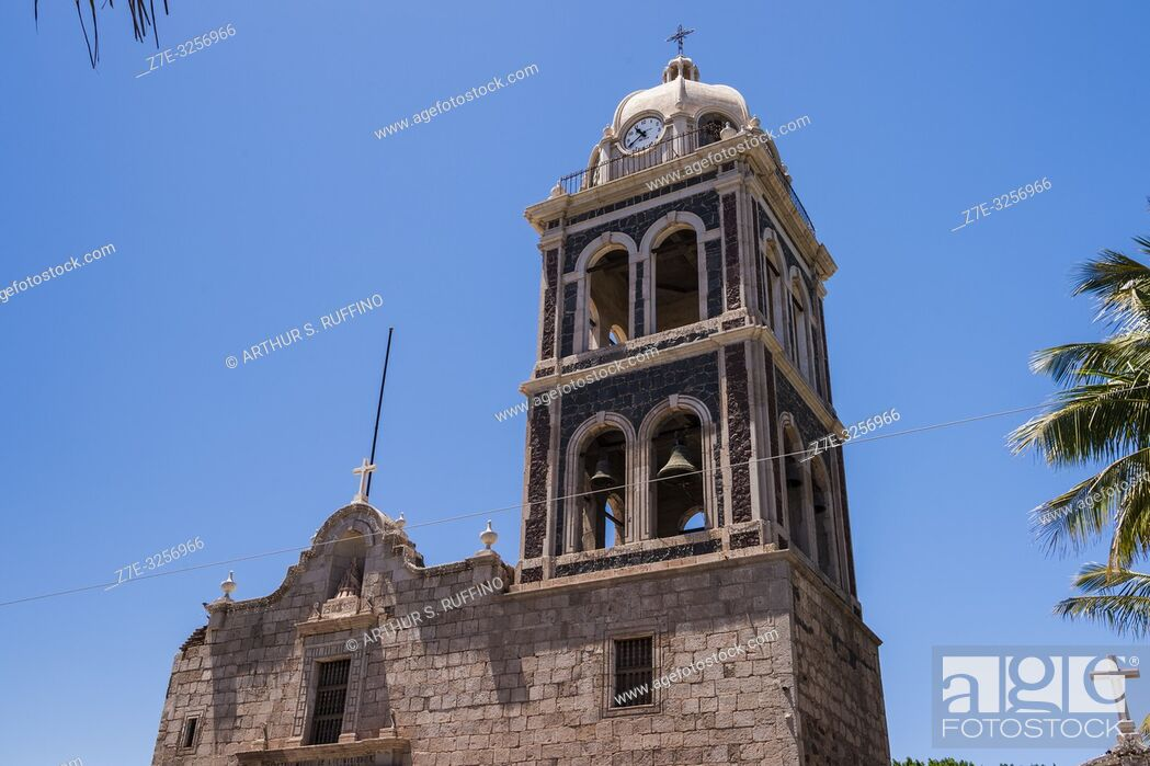 Stock Photo: Detail of the bell tower of the Mission of Nuestra Señora de Loreto Conchó (Mission of Our Lady of Loreto). UNESCO World Heritage Site.