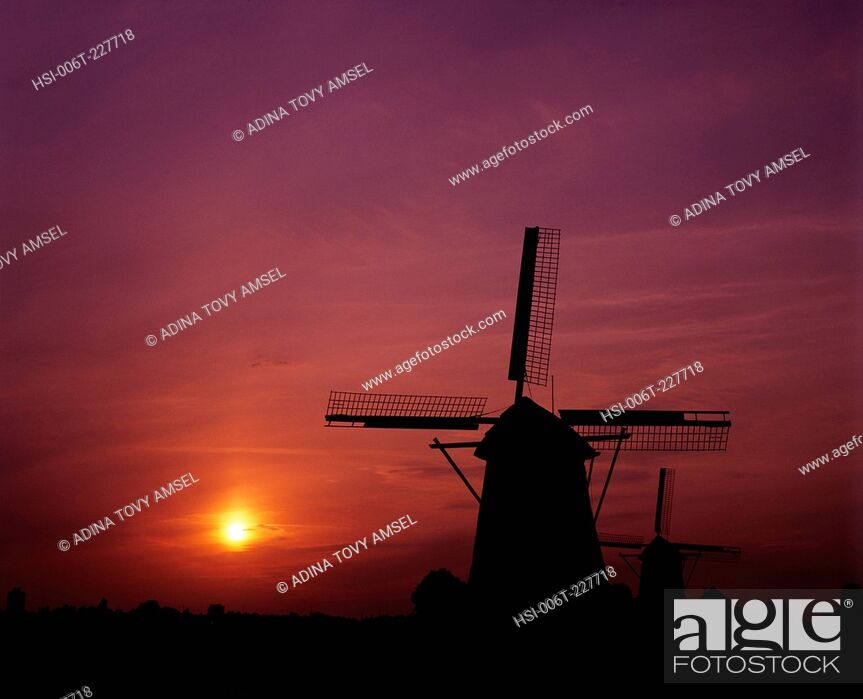 Stock Photo: Netherlands. Windmills. Zaanse Schans Mills. Sunset.
