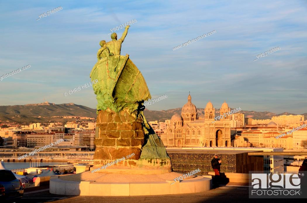 Stock Photo: Sailors Monument & View over MUCEM Museum & Cathedral Marseille France.