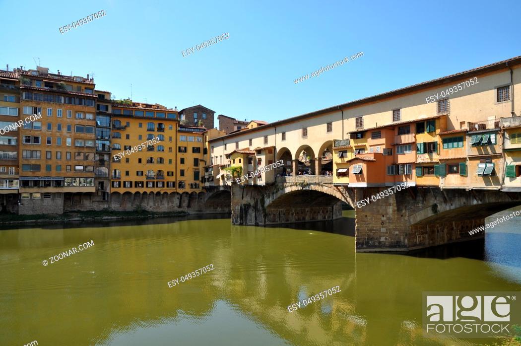 Stock Photo: Ponte Vecchio, Florenz, brücke, ponte, vecchio, arno, toskana, italien, fluss, architektur, historisch, altstadt.