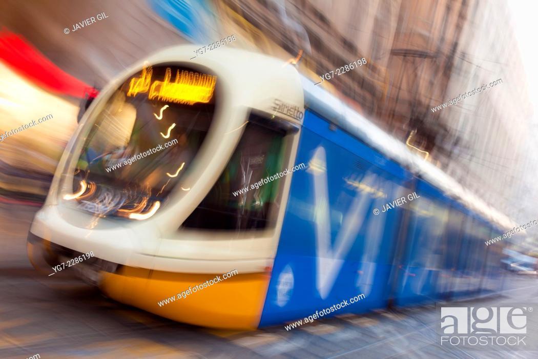 Stock Photo: Streetcar of Milan, Lombardy, Italy.