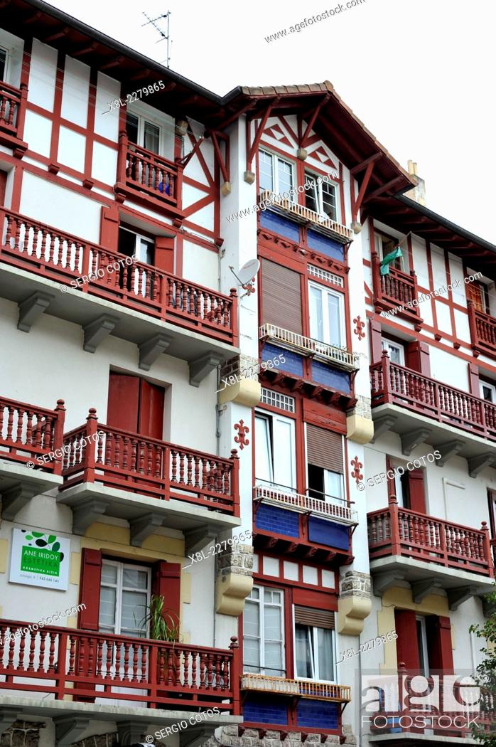 Stock Photo: balconies of houses in the town of Hondarribia, Guipuzcoa, Basque Country, Spain.