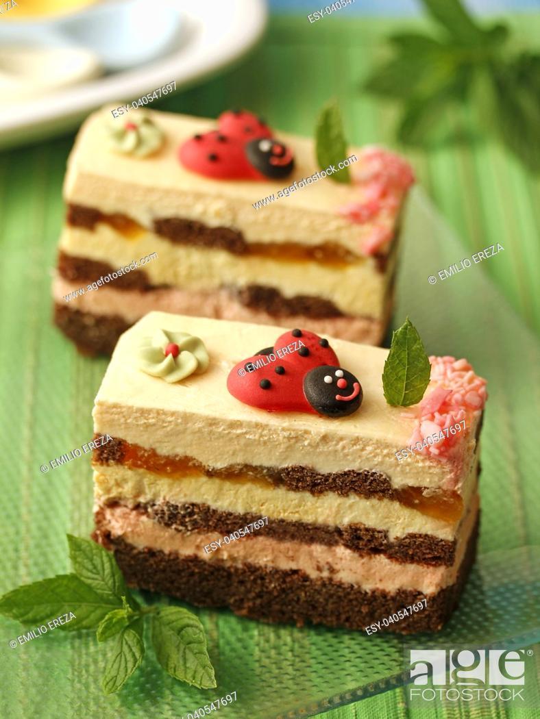 Stock Photo: Sponge cake pastries.