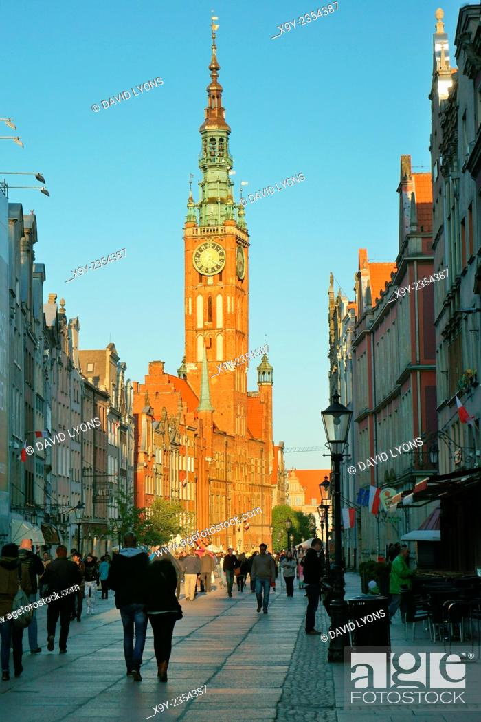 Stock Photo: Gdansk Poland. East along main shopping street of Dluga to the tower of the Main Town Hall in the heart of the Old Town.