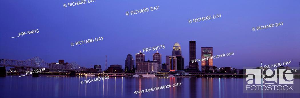 Stock Photo: Evening Skyline Louisville KY.
