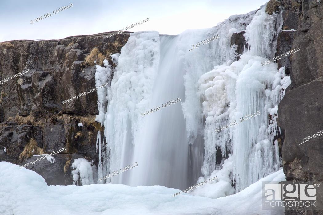 Stock Photo: Oxararfoss Winter Waterfall, Thingvellir National Park, Iceland.
