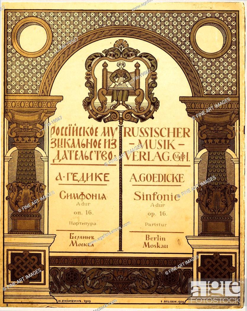 Stock Photo: Title design for the Russian Music Publisher. Bilibin, Ivan Yakovlevich (1876-1942). Colour lithograph. Art Nouveau. 1909. State Central M.