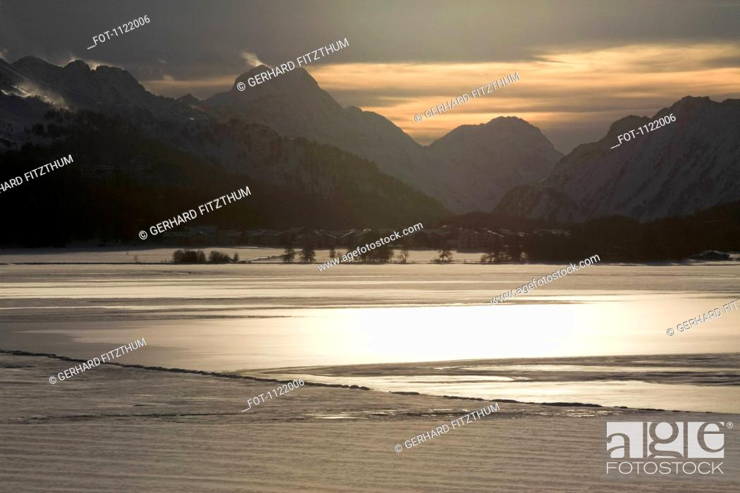 Stock Photo: Scenic landscape of Silvaplana in Switzerland with mountains in background.