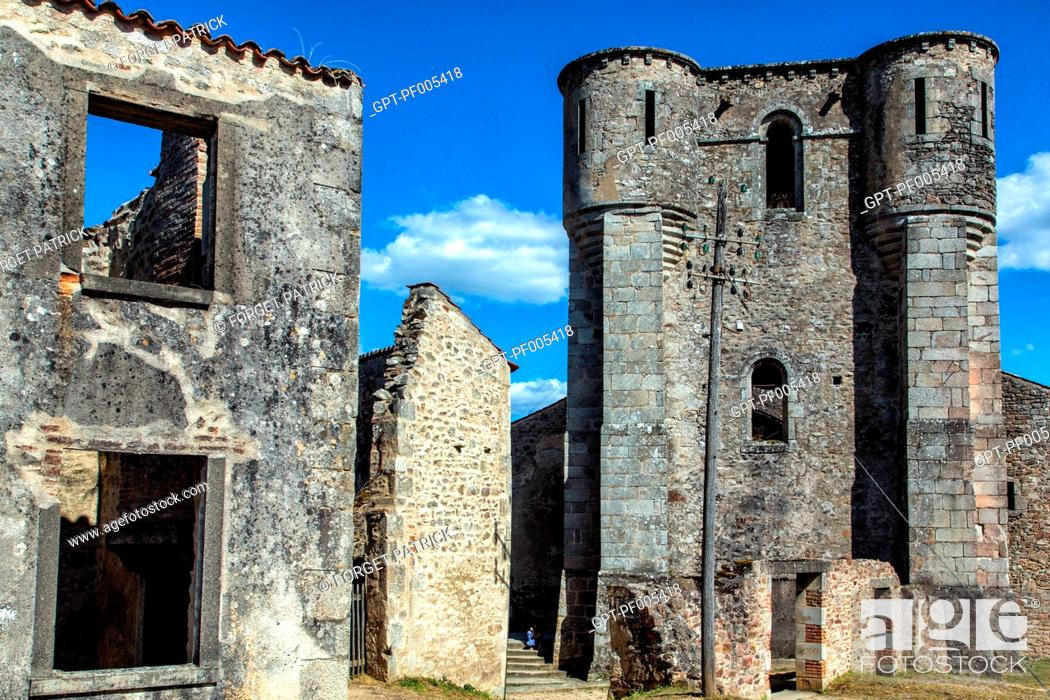 Stock Photo: THE CHURCH WHERE HUNDREDS OF PEOPLE WERE KILLED BY THE NAZIS, THE MARTYRED VILLAGE OF ORADOUR-SUR-GLANE DESTROYED ON JUNE 10.