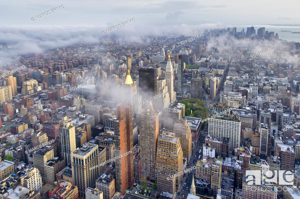 Stock Photo: New York. Manhattan. Aerial view at dusk.
