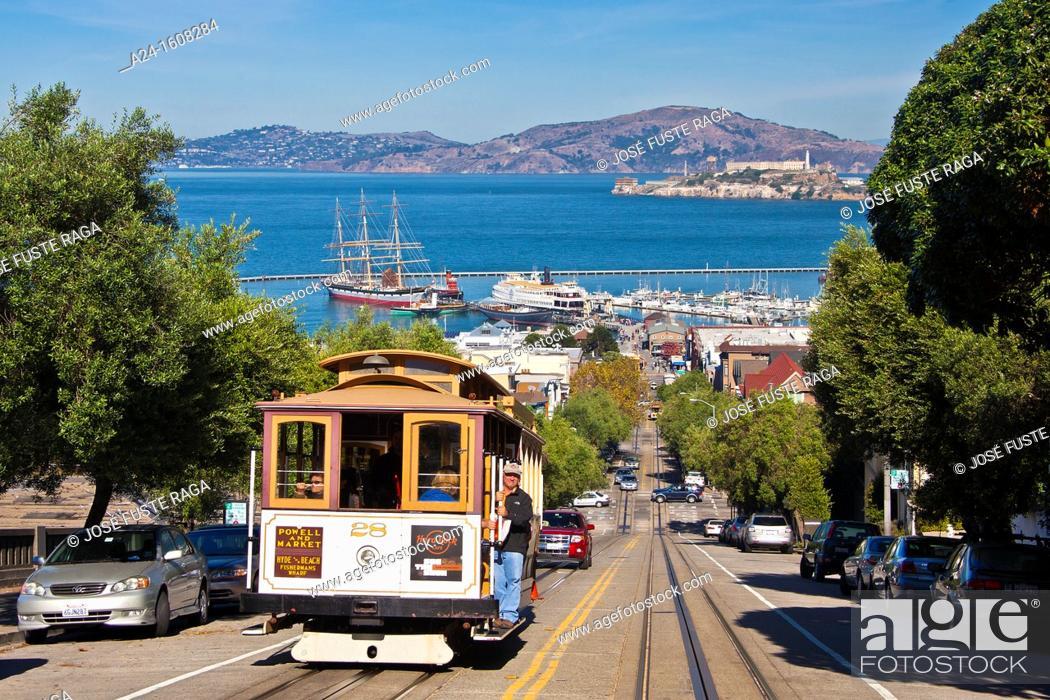 Stock Photo: USA-California-San Francisco City-Hyde Street-Tramway-Alcatraz Prison Island.