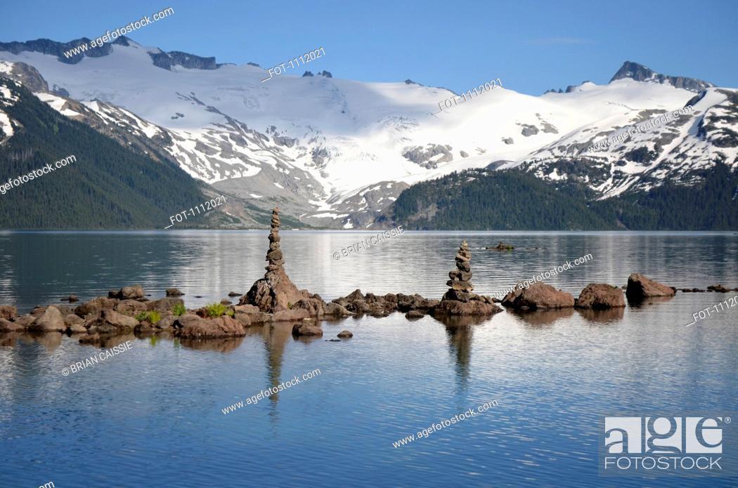 Stock Photo: Cairns on Garibaldi Lake, British Columbia, Canada.