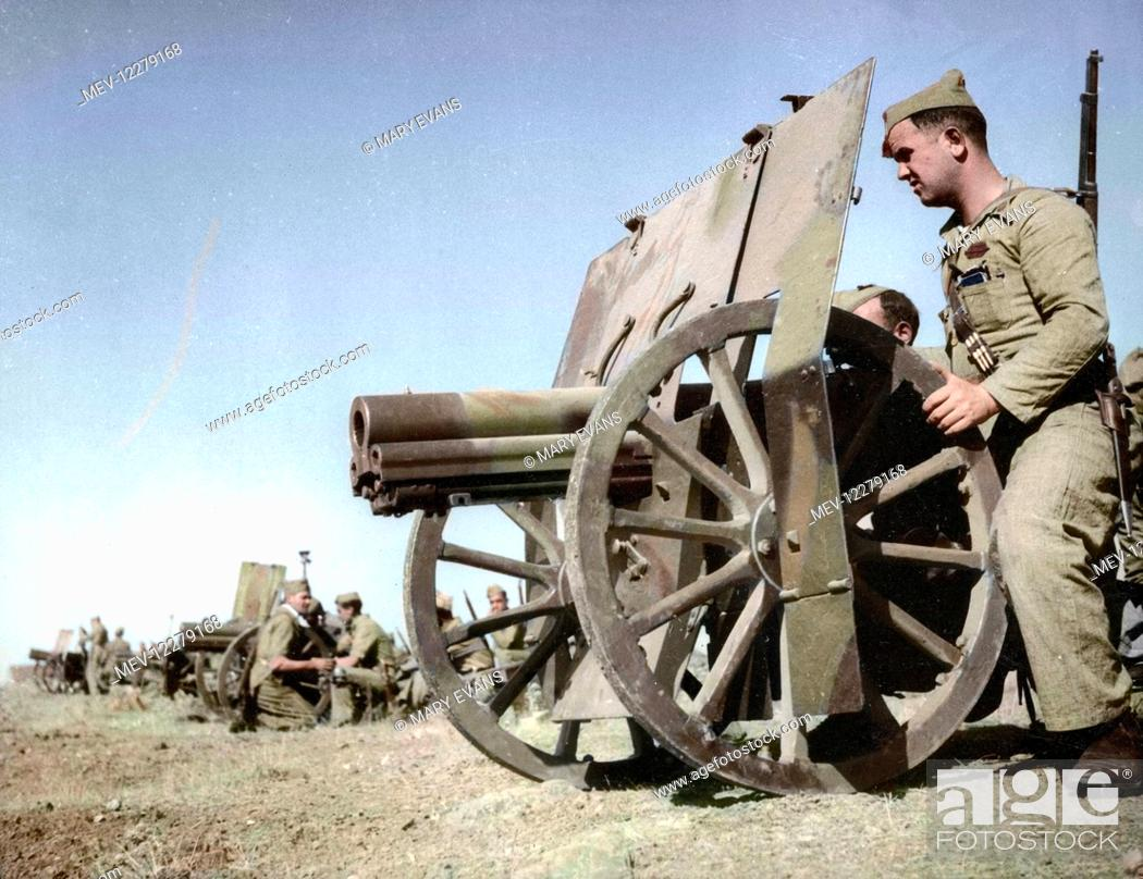 Stock Photo: Spanish Civil War Activists - Francoist artillery positions during the early stages of the war, West of Madrid, November 1936.