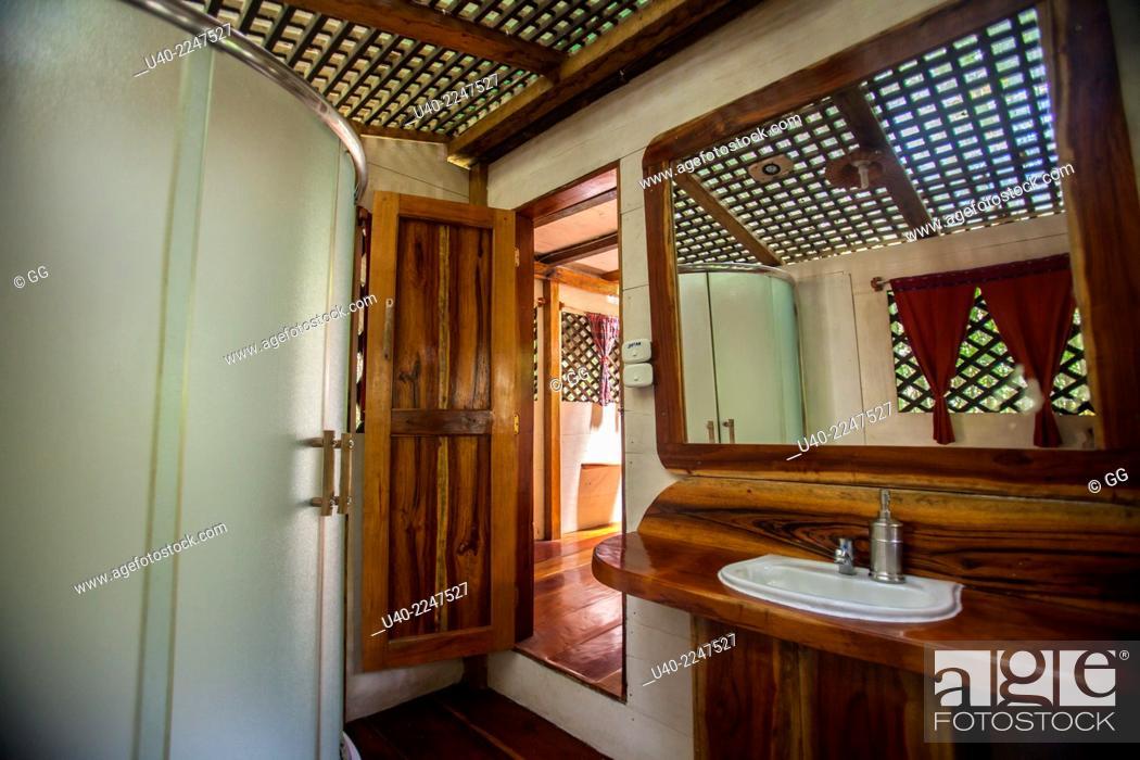 Stock Photo: Guatemala, Rio Dulce, Finca Tatin, bathroom.