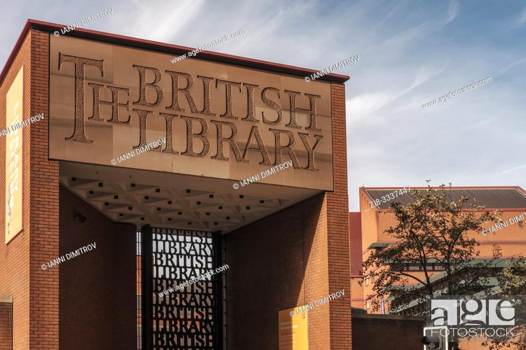 Stock Photo: England, London, The Gate to the British Library. The British Library is the national library of the United Kingdom and the largest national library in the.