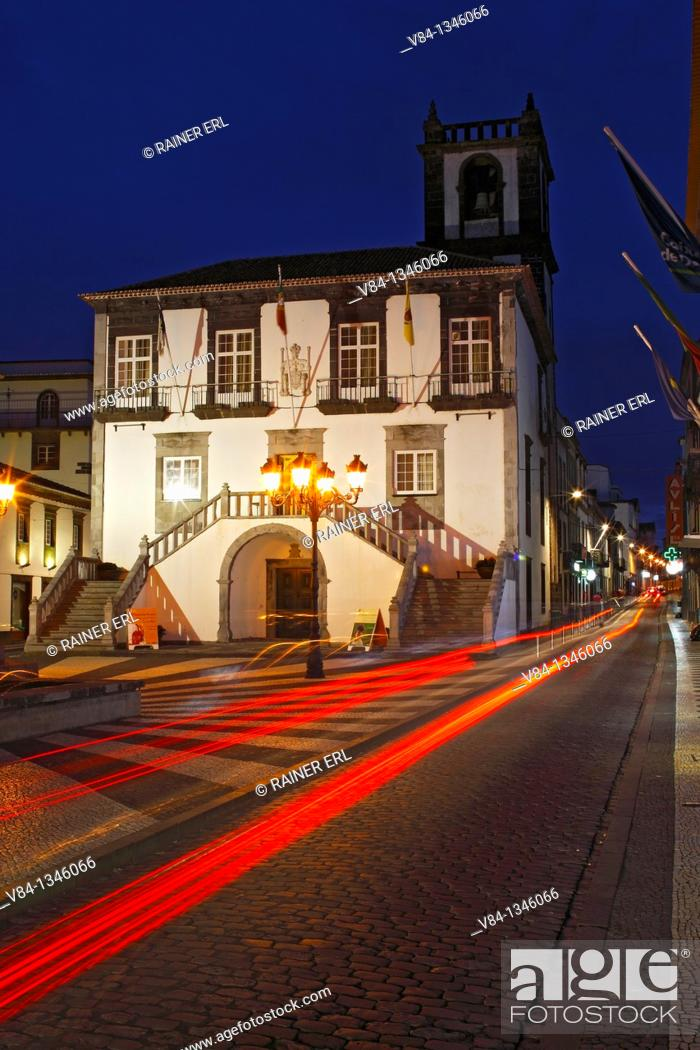Stock Photo: Town Hall / Ponta Delgada / Sao Miguel Island / Azores / Portugal.
