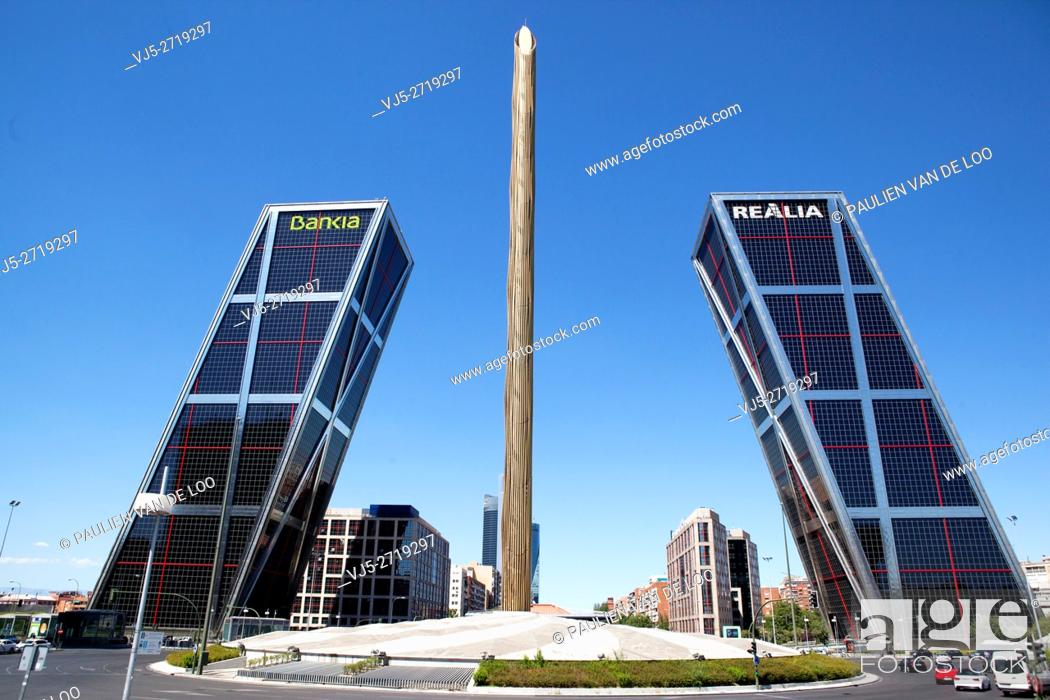 Stock Photo: Madrid, Spain, Front view of Bank Bankia and Realia, one of the largest of Spain. The Puerta de Europa towers (Gate of Europe or just Torres KIO) are twin.