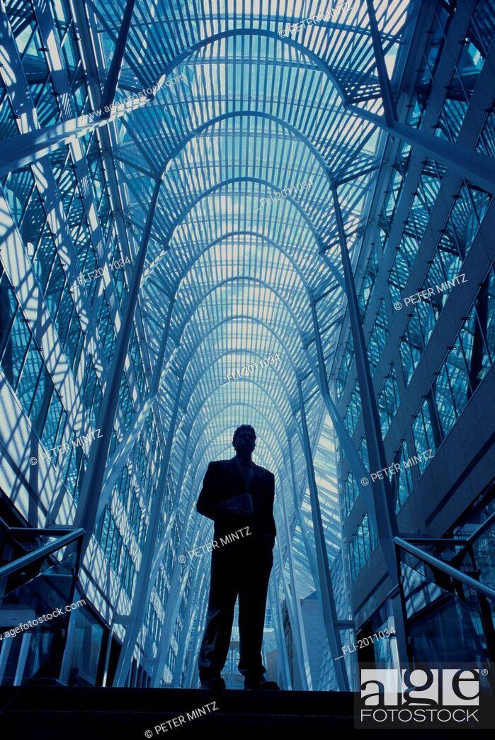 Stock Photo: Fv3368, Peter Mintz; Underview, Businessman Standing In Glass Atrium.