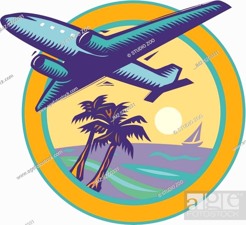 Stock Photo: Airplane flying over palm trees.