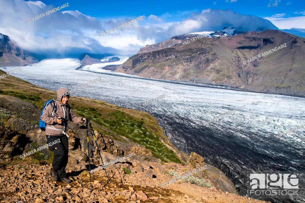 Stock Photo: Skaftafell, one of the tongues of the glacier Vatnajökull National Park of Vatnajökull south Iceland, Scandinavia, Europe.