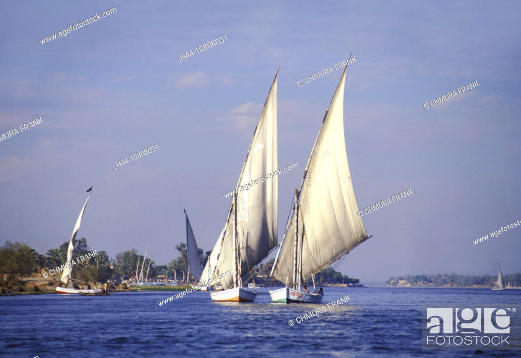 Stock Photo: Egypt, North Africa, Felukka, Felucca, Luxor, River, Sail boats, Nile.