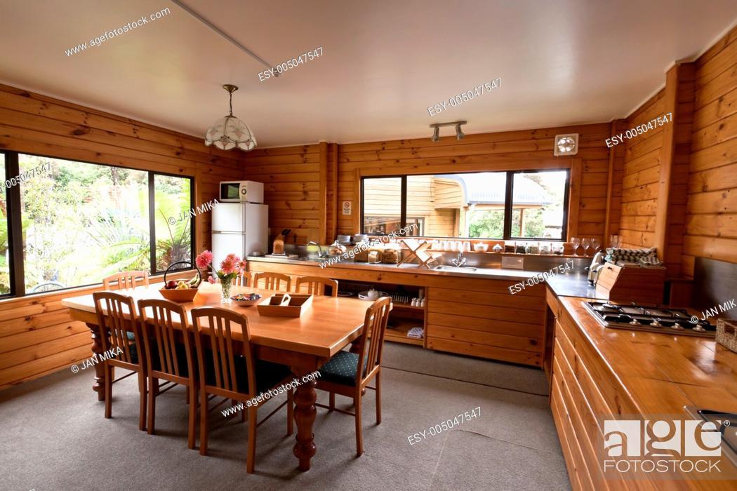 Stock Photo: Lodge breakfast room interior Fox Glacier Lodge, Fox Glacier, West Coast, South Island, New Zealand.