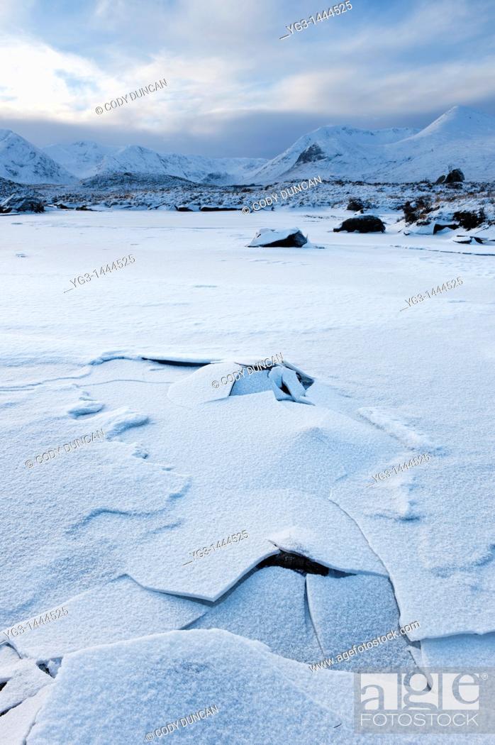 Stock Photo: Frozen landscape of Rannoch Moor in winter, Scotland.