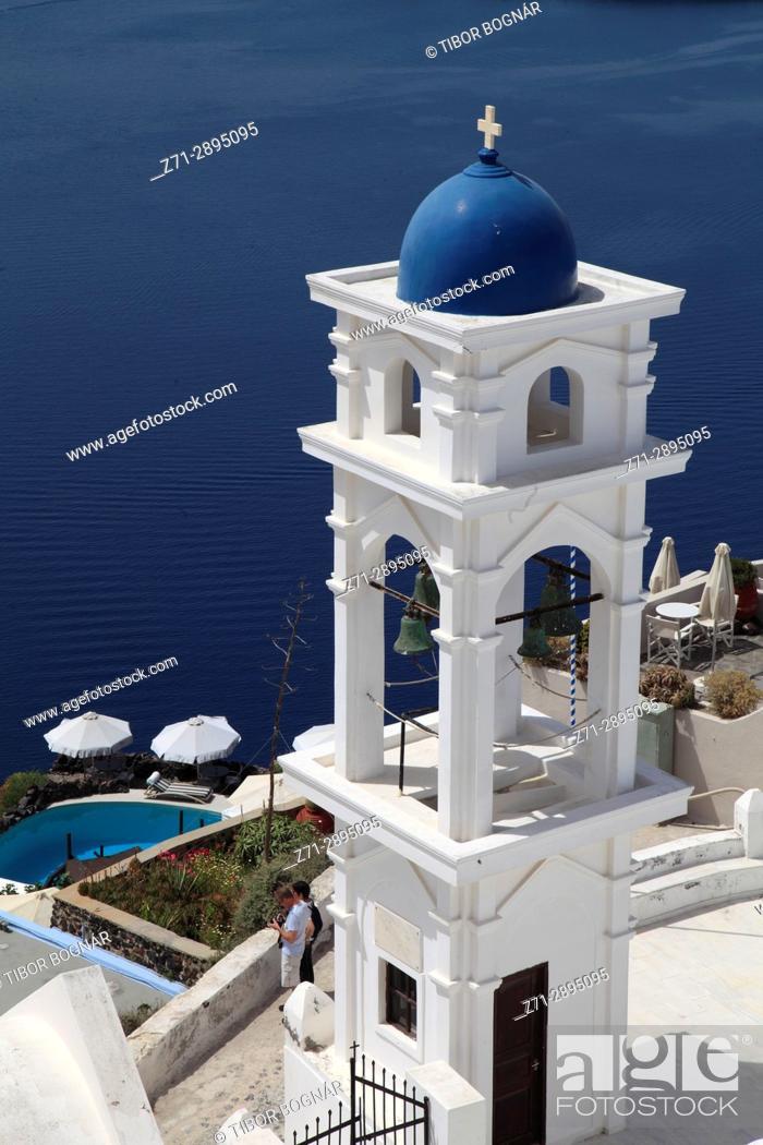 Stock Photo: Greece, Cyclades, Santorini, Imerovigli, Anastasi Church, bell tower.