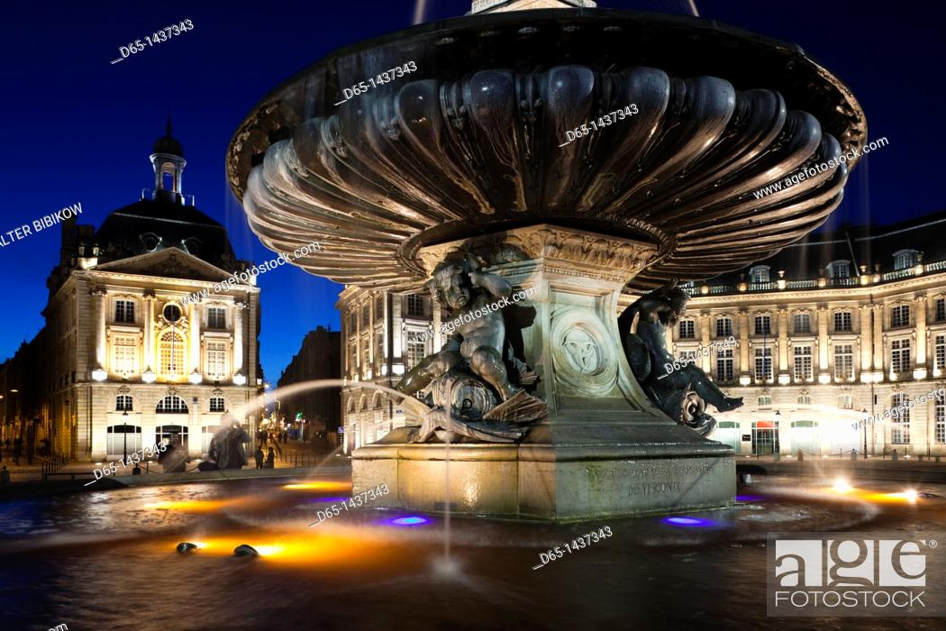 Stock Photo: France, Aquitaine Region, Gironde Department, Bordeaux, Place de la Bourse buildings, dusk.