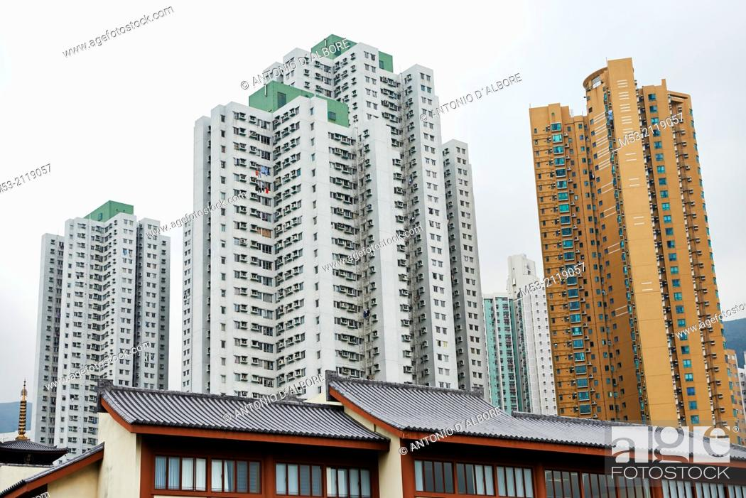 Stock Photo: View from below of Grand View Garden, an high rise residential development in Diamond Hill, Kowloon. Hong Kong. China.