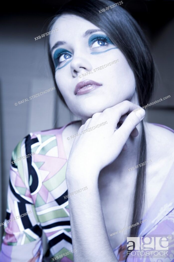 Stock Photo: woman with colorful make up.