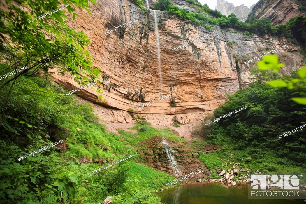 Stock Photo: Water falling from a cliff, Taihang Grand Canyon, Linzhou, Henan Province, China.