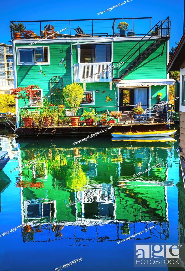 Stock Photo: Green Houseboat Floating Home VFisherman's Wharf Reflection Inner Harbor, Victoria Vancouver British Columbia Canada Pacific Northwest.