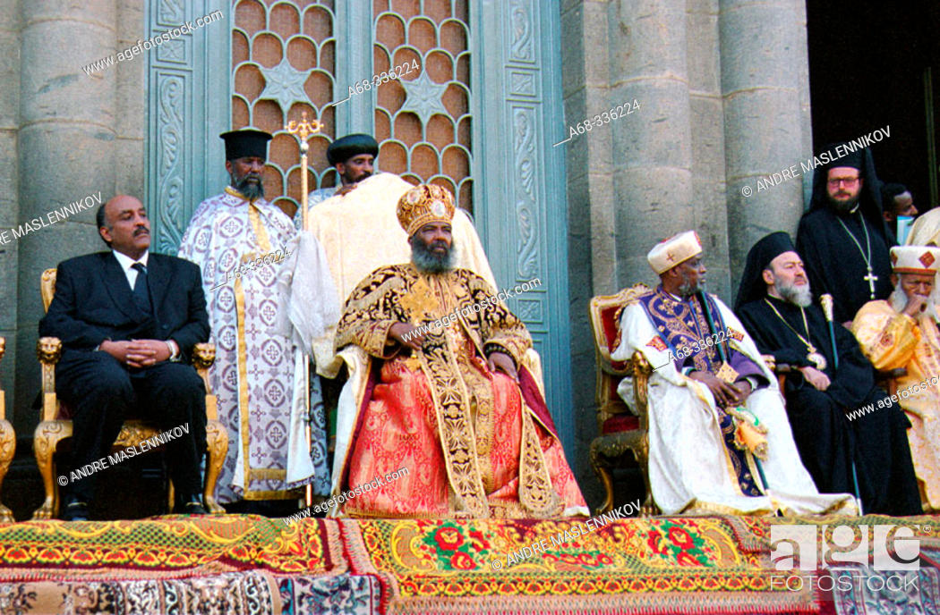 Stock Photo: The re-burial of emperor Haile Selassie, 25 years after his death: Prince Jacob and Patriarch Abune Paulos at Baata Maria Church.