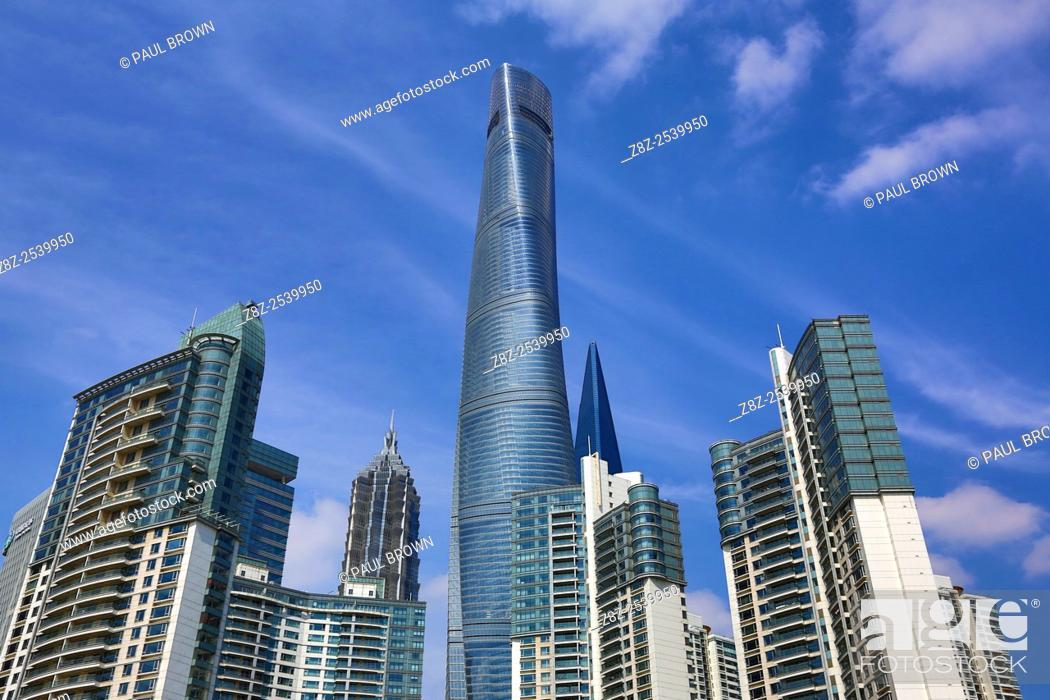 Stock Photo: The Shanghai Central Tower skyscraper building in Luijiazui, Pudong, Shanghai, China.