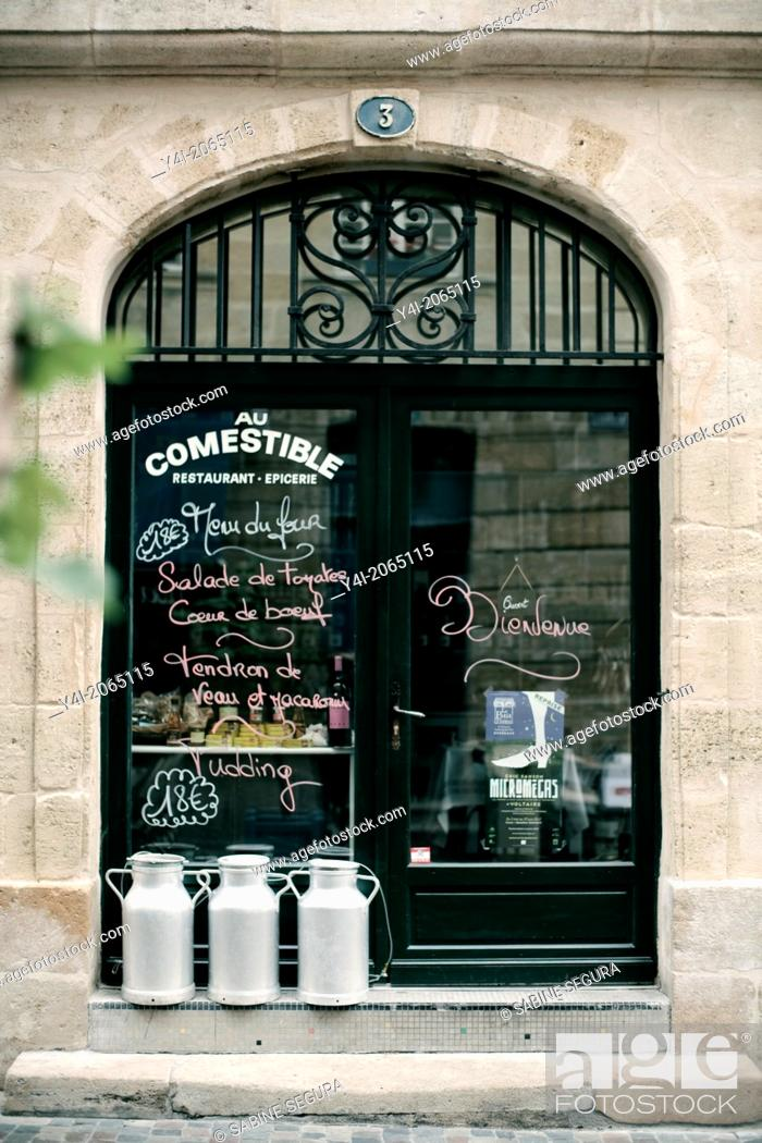 Stock Photo: Entrance of Le Comestible. French restaurant in Bordeaux. Bordeaux. Gironde. Aquitaine. France. Europe.