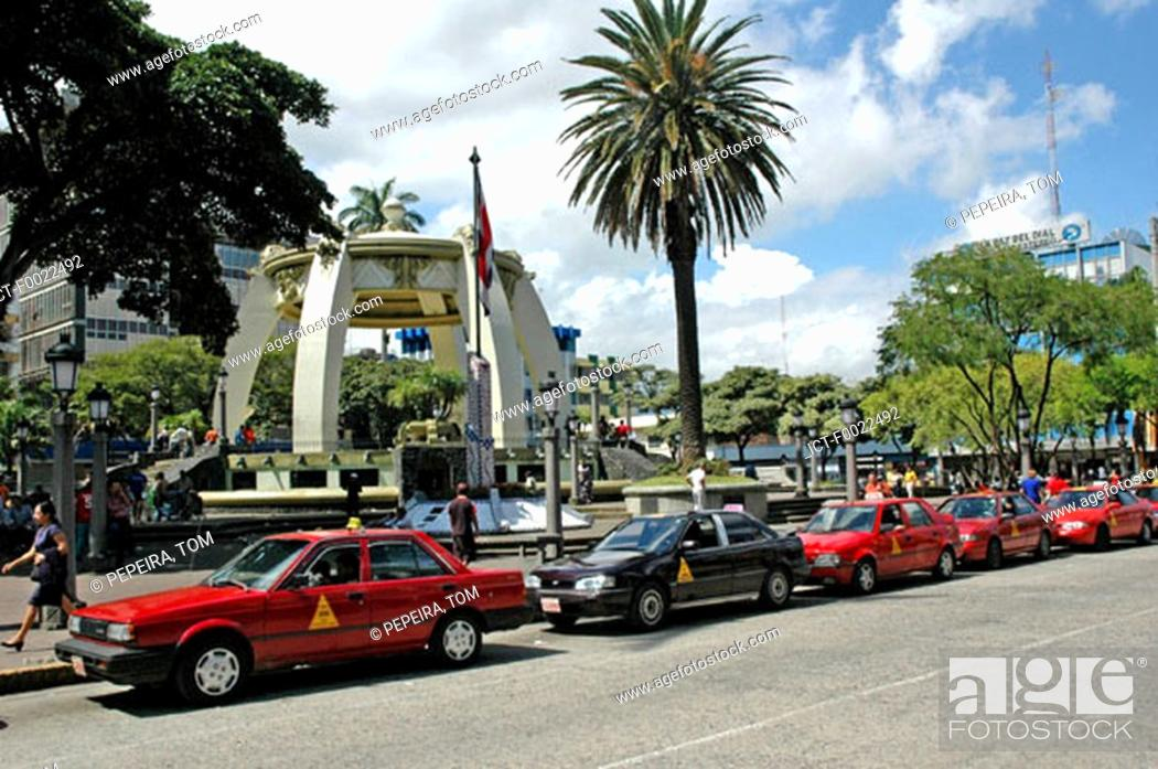 Stock Photo: Costa Rica, San JosÚ, downtown, red cabs.