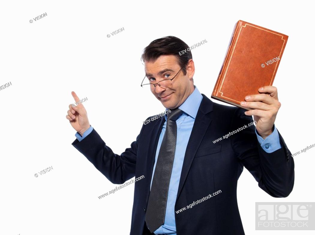 Stock Photo: man caucasian teacher professor lecturing isolated studio on white background.