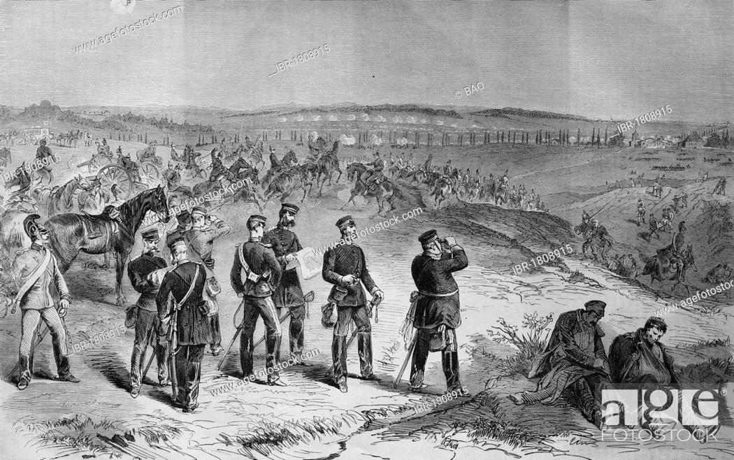 Stock Photo: Saxons attacking near Sainte-Marie-aux-Chenes on August 18th 1870, historic illustration, illustrated war chronicle 1870 to 1871, German campaign against France.