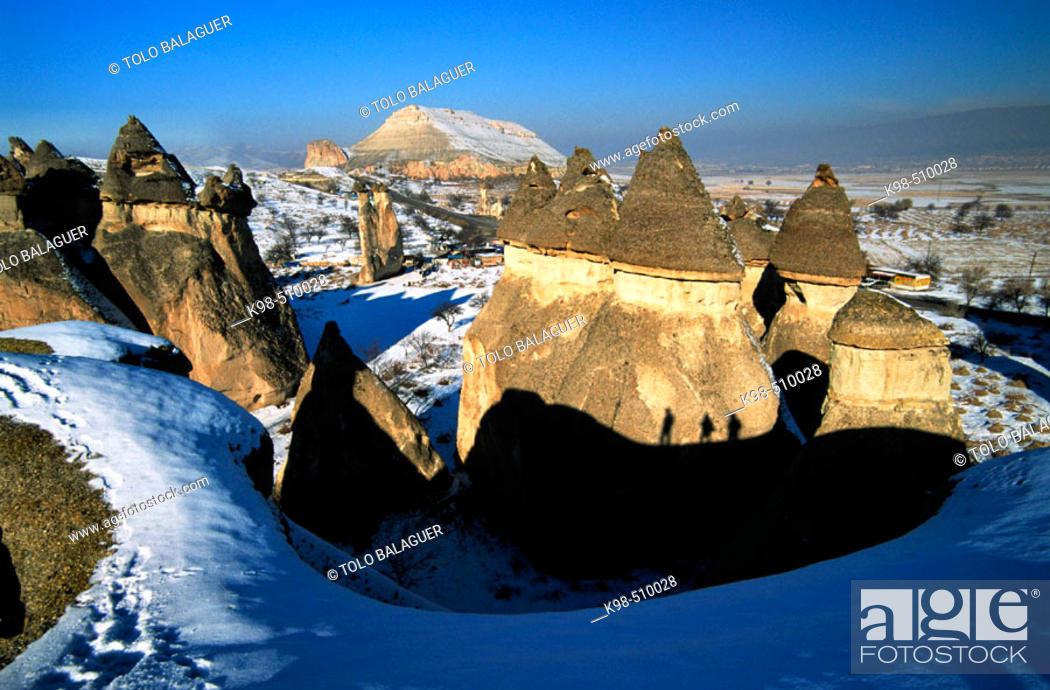 Stock Photo: Fairy chimneys, Pasabagi, Devrent Valley, Zelve. Cappadocia, Turkey.