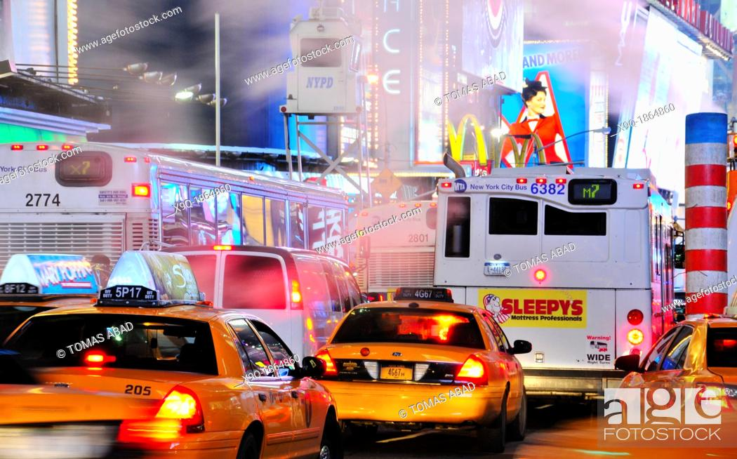 Stock Photo: 42nd Street, Broadway, Times Square, Manhattan, New York City, USA.