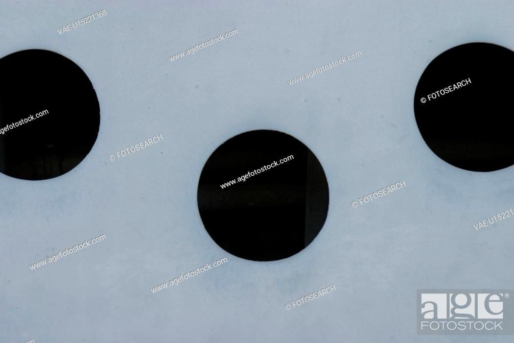 Stock Photo: holes, cavity, surface, black, white, white surface.