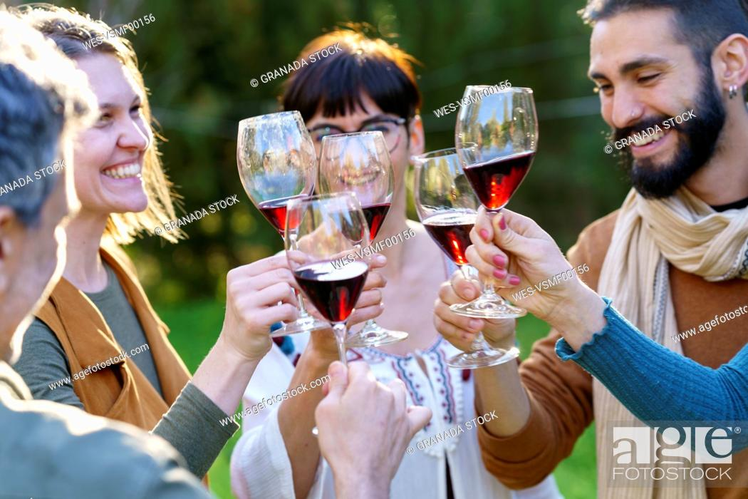 Stock Photo: Group of friends toasting with red wine on their getaway in the countryside.