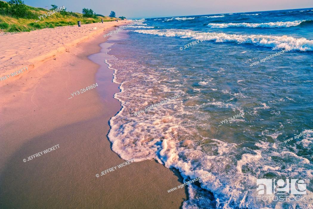 Stock Photo: The shores of Lake Michigan at Ludington Dunes State Park, Michigan, USA.